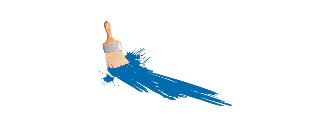 Visual arts subject logo featuring a paint brush with blue paint