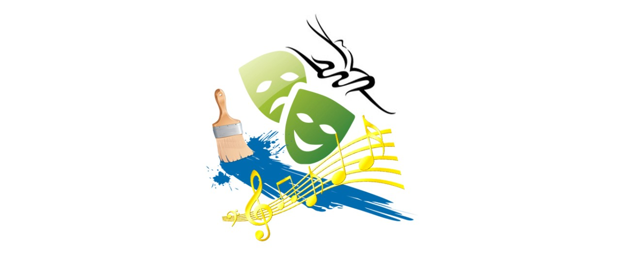 CAPA logo featuring a paint brush, music notes, drama masks, and an abstract dancer