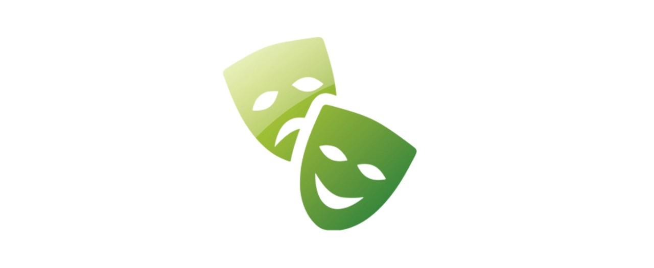 Drama subject logo featuring green theatre masks