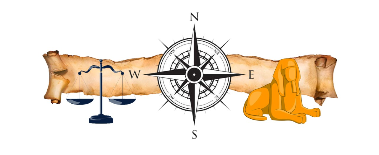 HSIE Faculty logo featuring a compass, a scroll, a sphinx and the scales of justice