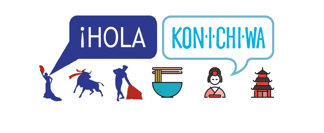 Languages Faculty logo featuring Spanish and Japanese icons and hello in both languages