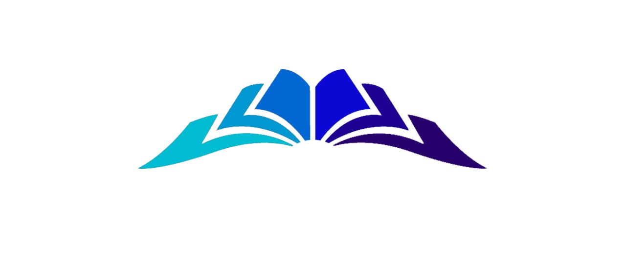 Blue open book logo for the library