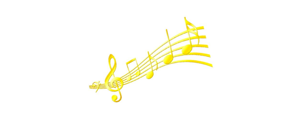 Music subject logo featuring gold music notes