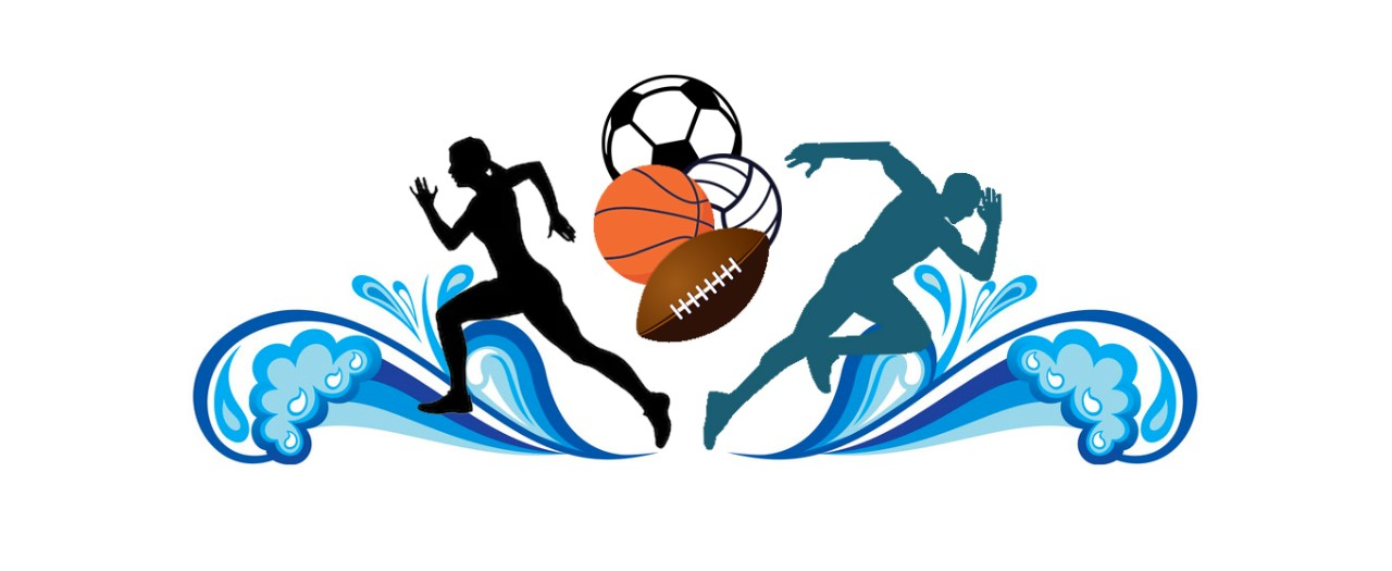 PDHPE Faculty logo featuring a female and male running, water decorations and a variety of sports balls