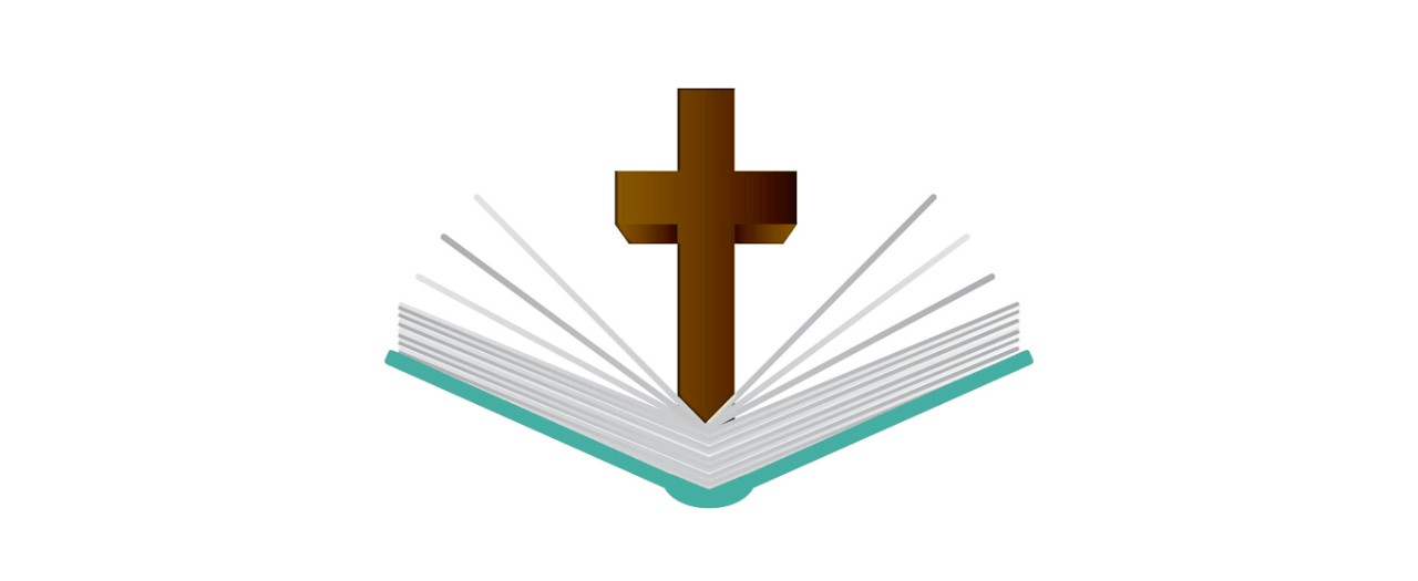 Religion logo featuring the Christian cross and Bible