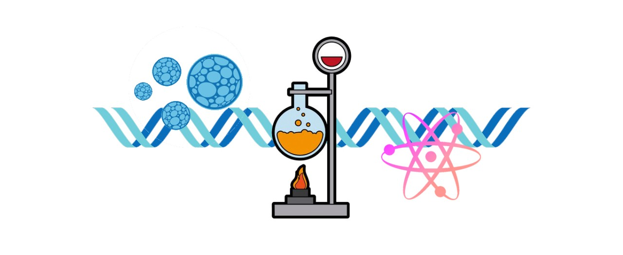 Science Faculty logo featuring DNA strand, bunsen burner set up, atoms and cells