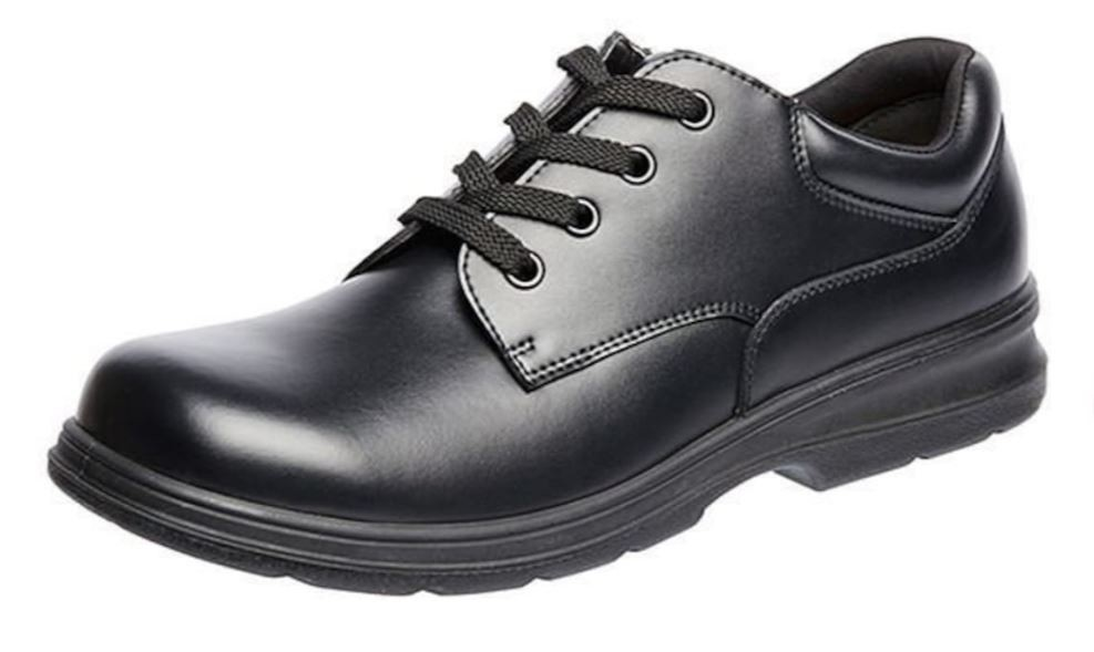 Acceptable school shoe, black leather, fully enclosed.
