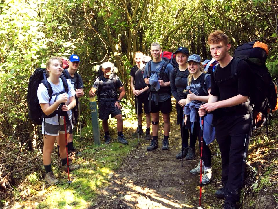 Duke of Edinburgh gold students on a hike 2018.