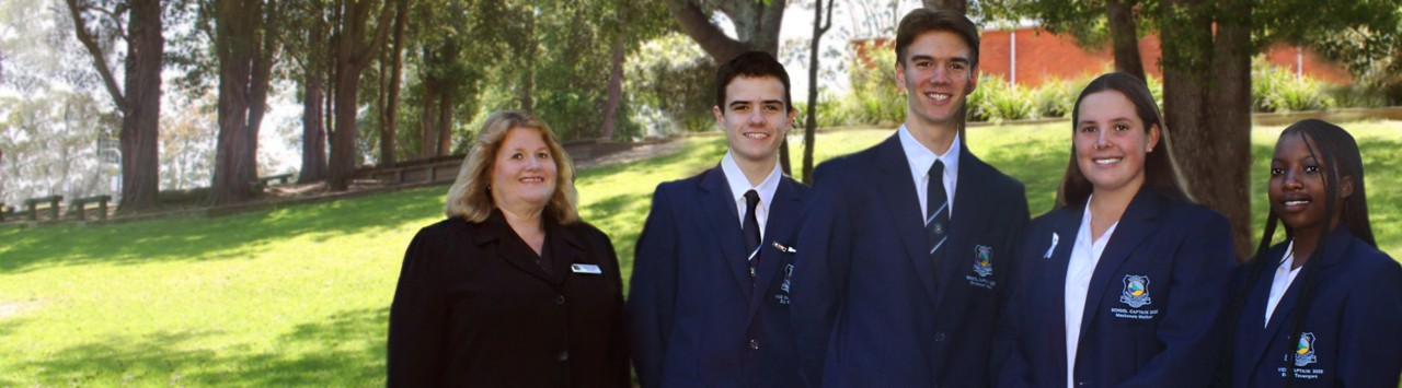 2020 school leaders in their official Terrigal High School blazer with Principal.